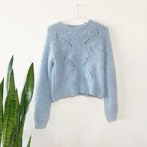Icy Blue Soft and Cozy Fuzzy Y2K Vibe Sweater